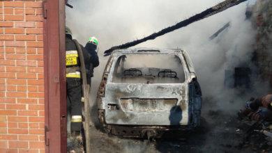 Photo of В Обуховке вместе с гаражом сгорел автомобиль Toyota Land Cruiser